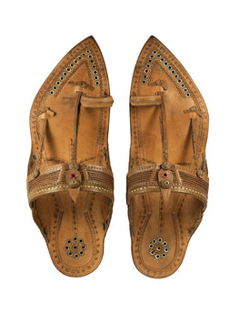 Kalapuri Men's Handcrafted Vegetable Tanned Leather Kolhapuri Chappal in Tipu style- Brown