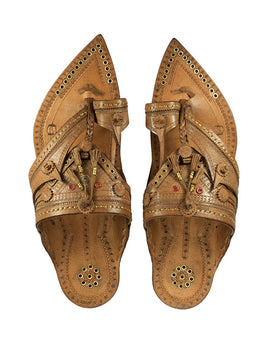 KALAPURI Awesome and attractive looking natural vegetable tanned toxic free leather Kolhapuri Chappal in simple Shahu Maharaj Style from Kolhapur in Yellow colour Size UK-6