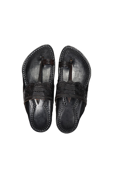 KALAPURI® Mens Genuine Leather tanned toxic free leather Kolhapuri Chappal Black from Kolhapur.