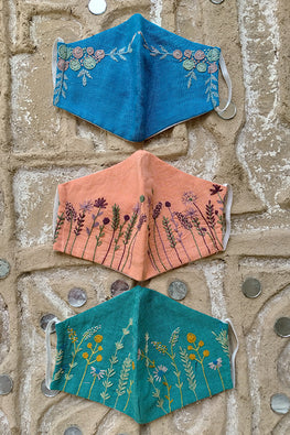 Okhai 'Kiara' Hand Embroidered Cotton Mask (Pack of 3)