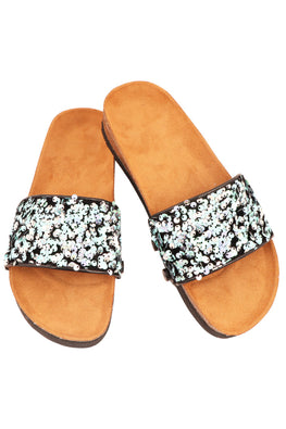 Murtle 'Eazy Blue Sparkles' Natural Cork Sole and Sequins Strap Sliders