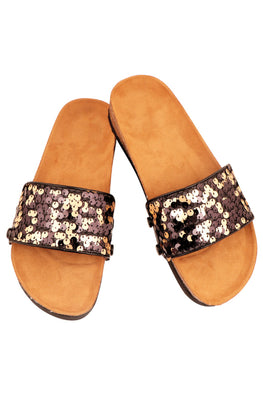 Murtle 'Eazy Party Sequins' Natural Cork Sole and Sequins Strap Sliders