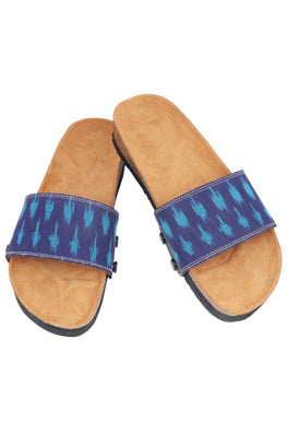 Murtle 'Eazy Blue Ikat' Natural Cork Sole Sliders