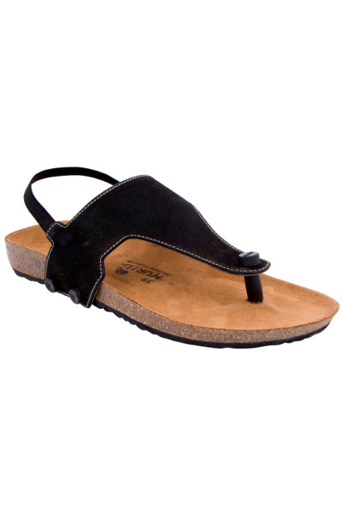 Murtle 'Black Striker' Natural Cork Sole and Black Synthetic Leather T Strap Sandals