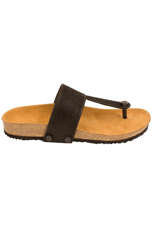 Murtle 'Black Classic' Natural Cork Sole and Black Synthetic Leather T Strap Sandals