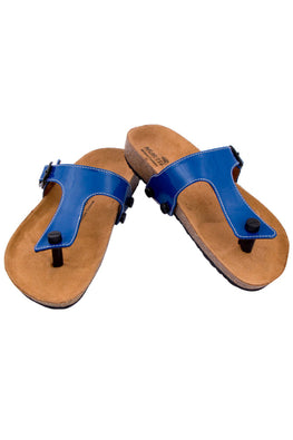 Murtle 'Blue Bling' Natural Cork Sole and Blue Synthetic Leather T Strap Sandals