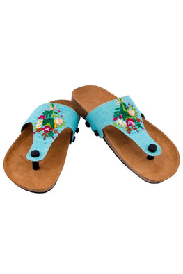 Murtle 'Blue Bouquet' Natural Cork Sole and Hand Embroidered Strap Sandals