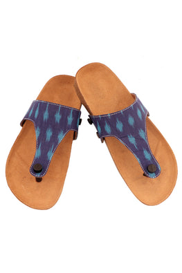 Murtle 'Blue Ikat' Natural Cork Sole and Hand Woven Ikat Pure Cotton Strap Sandals