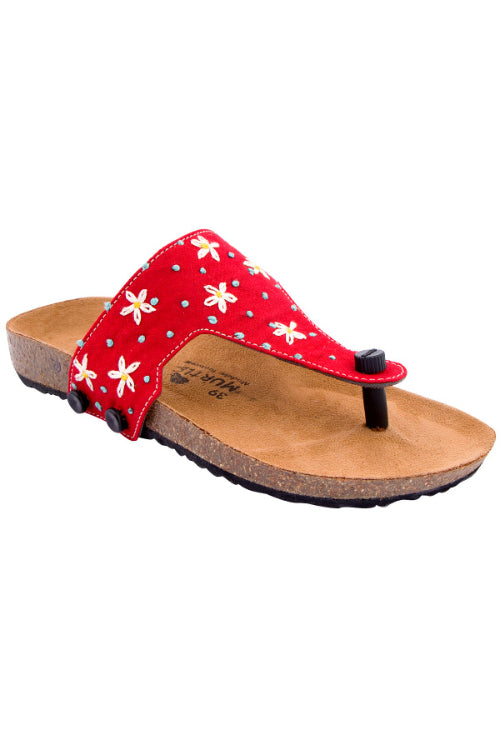 Murtle 'Lizy's Flowers' Natural Cork Sole with Red Hand Dyed Cotton and Hand Embroidered Strap Sandals with arch support