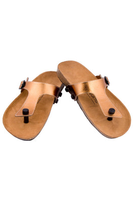Murtle 'Copperture' Natural Cork Sole with Copper Finished Synthetic Leather Strap Sandals with arch support