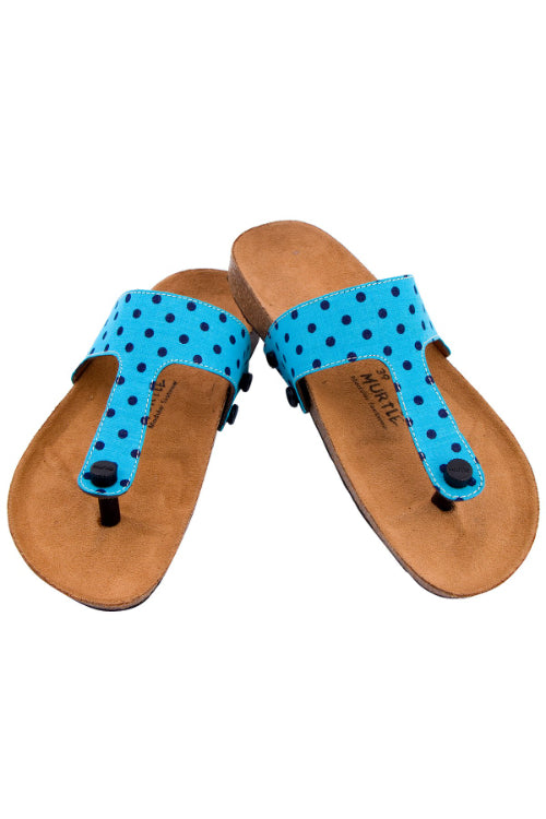 Murtle 'Blue Stipple' Natural Cork Sole with Blue Hand Woven Pure Cotton Strap Sandals with arch support