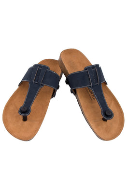 Murtle 'Navy Strike' Natural Cork Sole and Navy Blue Synthetic Leather T Strap Sandals