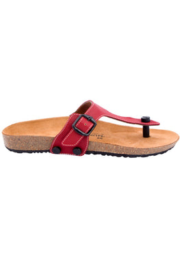 Murtle 'Maroon Ground' Natural Cork Sole with Size Adjustable Buckle Strap Sandals