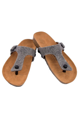 Murtle 'Grey Felt' Natural Cork Sole with Size Adjustable Buckle Strap