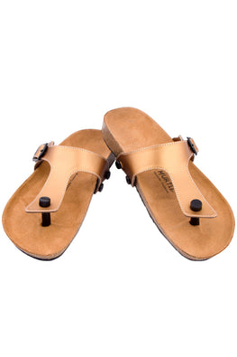 Murtle 'Goldure' Natural Cork Sole with Matte Gold Finished Synthetic Leather Strap Sandals with arch support