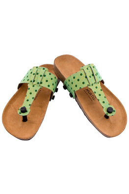 Murtle 'Green Stipple' Natural Cork Sole with Hand Woven Pure Cotton Strap Sandals with arch support