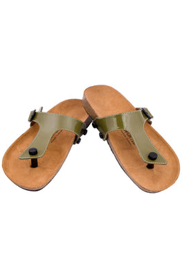 Murtle 'Olive Flip-Flop' Natural Cork Sole and Synthetic Leather Buckle Strap Sandals