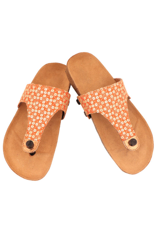 Murtle 'Ethnic-O' Natural Cork Sole with Orange Cotton Silk Strap Sandals with arch support