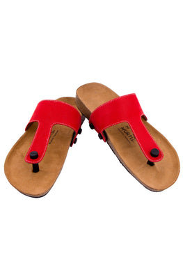 Murtle 'Red Striker' Natural Cork Sole and Synthetic Leather T Strap Sandals