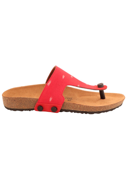 Murtle 'Bolarum Red Ikat' Natural Cork Sole and Hand Woven Ikat Pure Cotton Strap Sandals