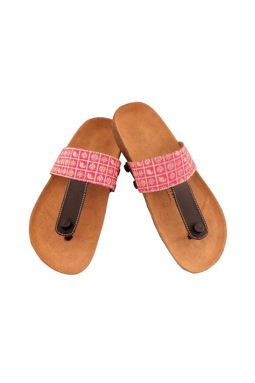 Murtle 'Pink Ethnic' Natural Cork Sole with Cotton-Silk Strap Sandals with arch support