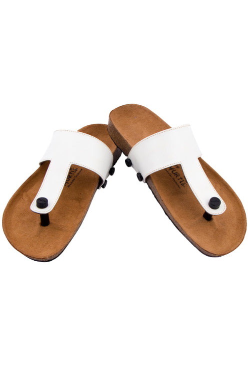 Murtle 'White Classic' Natural Cork Sole and Synthetic Leather T Strap Sandals