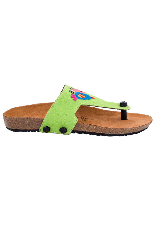 Murtle 'Chirping Birds' Natural Cork Sole with Green Hand Dyed Cotton and Hand Embroidered Strap Sandals with arch support