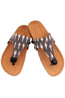 Murtle 'Grey Ikat' Natural Cork Sole and Hand Woven Ikat Pure Cotton Strap Sandals