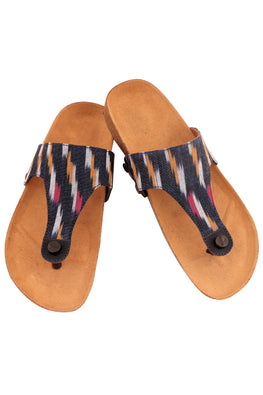 Murtle 'Navy Blue Ikat' Natural Cork Sole and Hand Woven Ikat Pure Cotton Strap Sandals