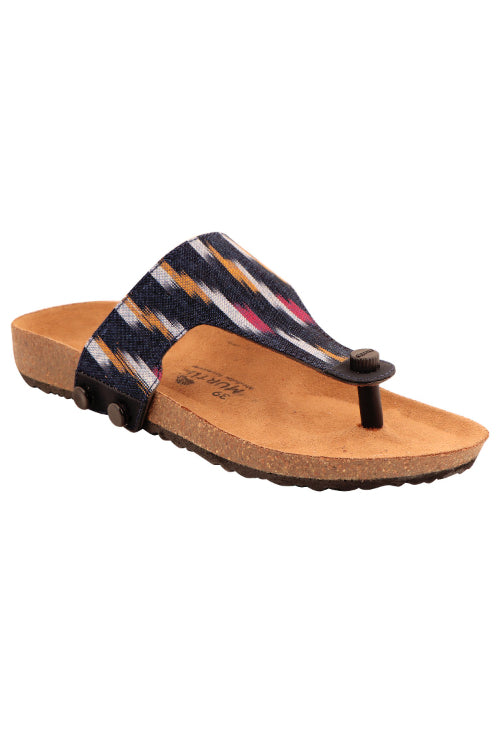 Murtle 'Navy Blue Ikat' Hand Woven Ikat Pure Cotton Strap