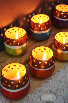 Craftlipi MINI Multicolored Handcrafted Terracotta Tea Light Holder Online (Set Of 6)