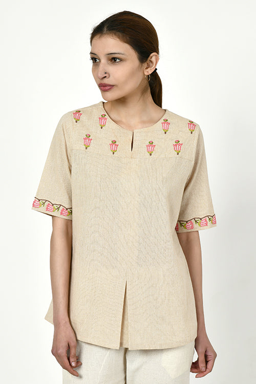 Rangsutra 'Noorbagh' beige top with stitch down box pleat detailing