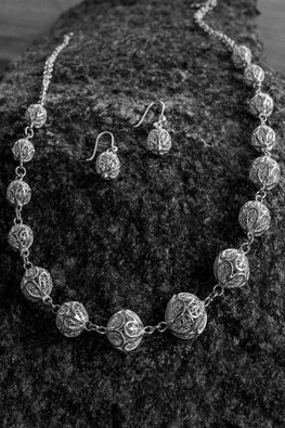 Silver Linings Rudraksha Handmade Silver Filigree Necklace Set Online
