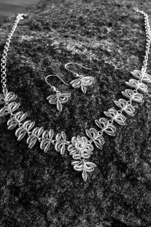 "Silver Linings ""Bloom"" Silver Filigree Handmade Necklace Set"