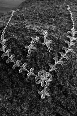 Silver Linings Floral Handmade Silver Filigree Necklace Set Online