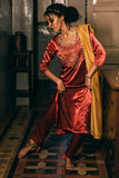 Urmul Neera Hand Embroidered Cherry Red Mashru Silk Kurta Pant Dupatta Set Online