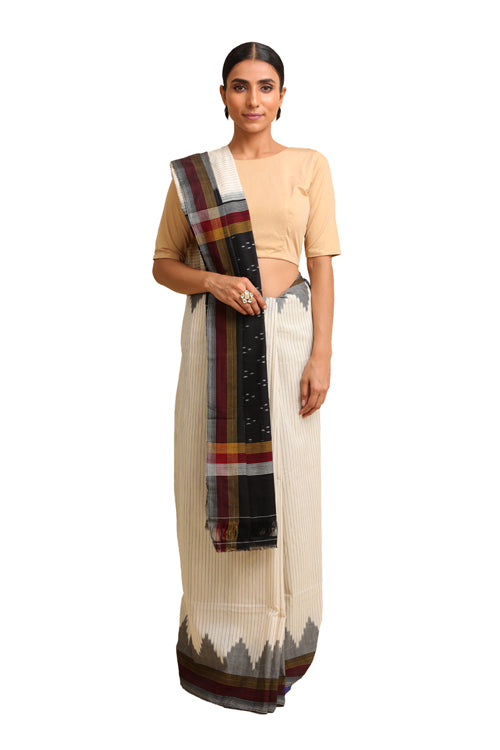 Lal10 Cotton Handwoven White Pochampally Ikat Saree Online
