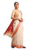 Lal10 Cotton Handwoven Off White Maheshwari Silk Saree Online