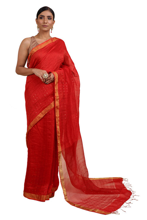 Lal10 Cotton Handwoven Red Banarsi Silk Saree Online