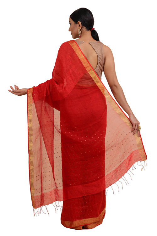 Lal10 Silk Linen Handwoven Saree