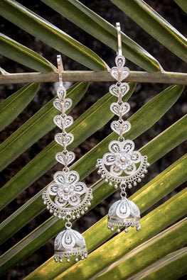 Silver Linings Floral Kaan Chain Handmade Silver Filigree Jhumka Earrings Online