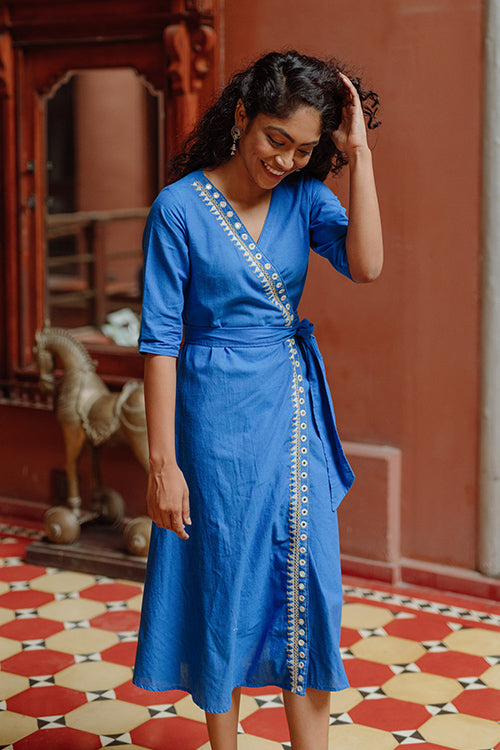 Okhai 'Ocean' Embroidery Mirror Work Cotton Wrap Around Dress