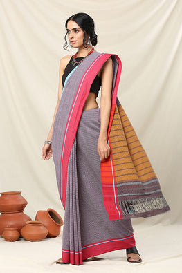 Punarjeevana Blue Red Ganga Jamuna Reversible Patteda Anchu Saree Online