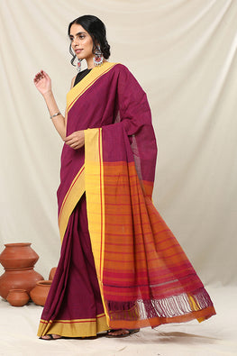 Punarjeevana Yellow border Reversible Patteda anchu