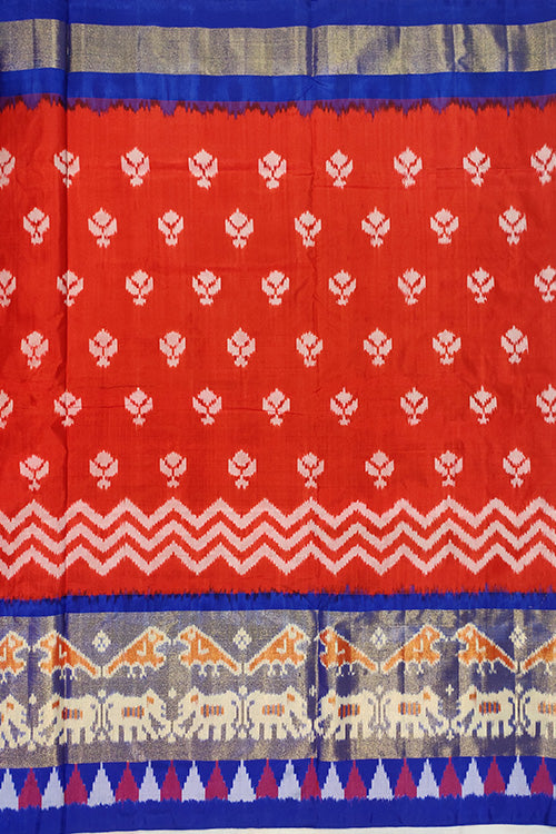 Sudha Handloom Pochampally Ikkat Pure Silk Bright Red and Blue Saree