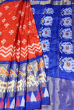 Sudha Handlooms Red And Blue Pochampally Ikat Pure Silk Saree Online