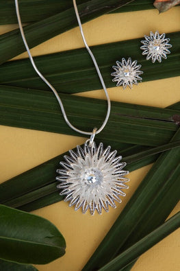Silver Linings Sunflower Handmade Silver Filigree Pendant Set Online