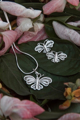 Buy Silver Linings Butterfly  Handmade Silver Filigree Pendant Set Online