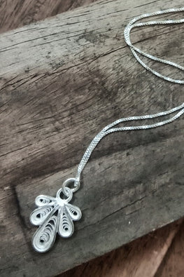 Silver Linings Middle Finger Handmade Silver Filigree Chain With Pendant Online