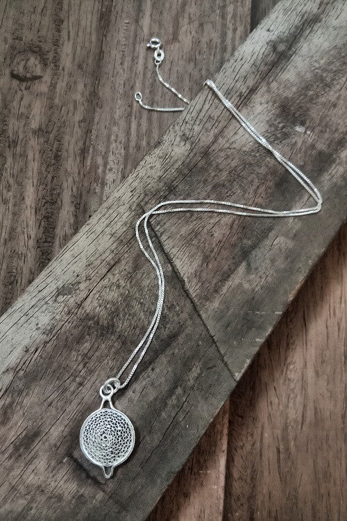 "Silver Linings ""Moon"" Silver Filigree Handmade Pendant and Chain"